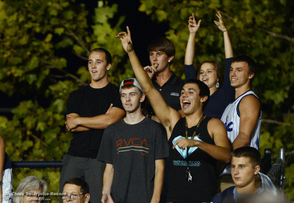 . Pleasant Valley High fans scream for prizes against Lassen High in the fourth quarter of their football game at PVHS Asgard Yard Friday, September 6, 2013 in Chico, Calif. (Jason Halley/Chico Enterprise-Record)