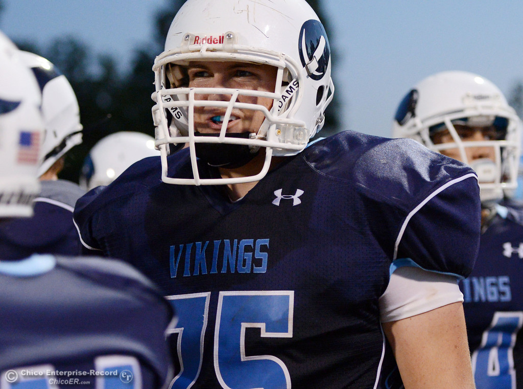 . Pleasant Valley High\'s #75 Jack Earney against Lassen High in the first quarter of their football game at PVHS Asgard Yard Friday, September 6, 2013 in Chico, Calif. (Jason Halley/Chico Enterprise-Record)