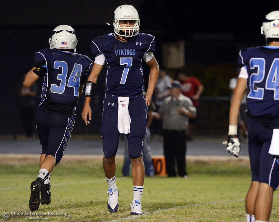 . Pleasant Valley High\'s #7 Zane Ferguson (center) came in as quarterback against Lassen High in the fourth quarter of their football game at PVHS Asgard Yard Friday, September 6, 2013 in Chico, Calif. (Jason Halley/Chico Enterprise-Record)
