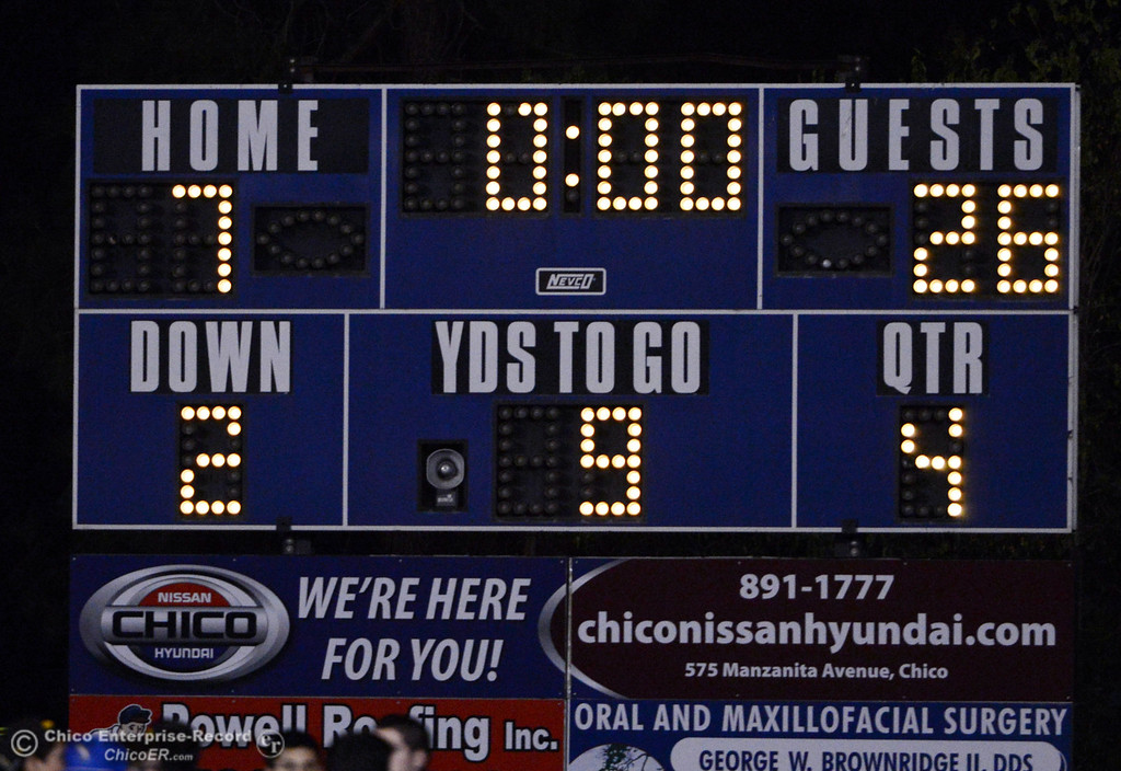 . The final score of the Pleasant Valley High with 7 points against Lassen High with 26 points in their football game at PVHS Asgard Yard Friday, September 6, 2013 in Chico, Calif. (Jason Halley/Chico Enterprise-Record)