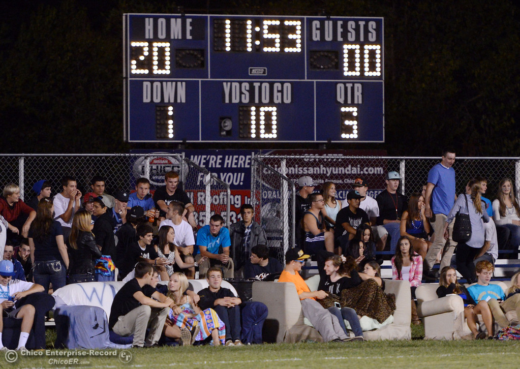 . Pleasant Valley High fans in couches watch against Oroville High in the third quarter of their football game at PVHS Asgard Yard Friday, September 20, 2013, in Chico, Calif. (Jason Halley/Chico Enterprise-Record)