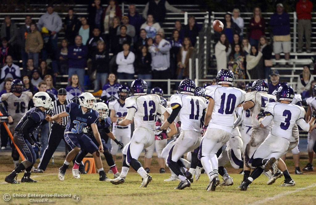. Pleasant Valley High recovers an on side kick against Shasta High in the fourth quarter of their football game at PVHS Asgard Yard Friday, October 18, 2013 in Chico, Calif.  (Jason Halley/Chico Enterprise-Record)
