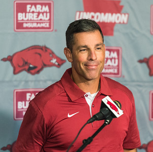 Offensive Coordinator Dan Enos at the Razorback football press conference on Monday, August 31, 2015 at the Fred W. Smith Football Center in Fayetteville, Arkansas.   (Alan Jamison, Nate Allen Sports Service).
