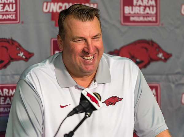 Head Coach Bret Bielema at the Razorback football press conference on Monday, August 31, 2015 at the Fred W. Smith Football Center in Fayetteville, Arkansas.   (Alan Jamison, Nate Allen Sports Service).
