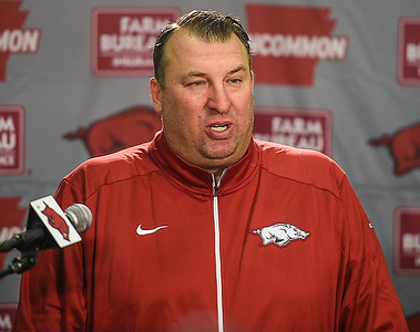 Arkansas Head Coach Bret Bielema meets with media on January 16, 2016.    (Alan Jamison, Nate Allen Sports Service)