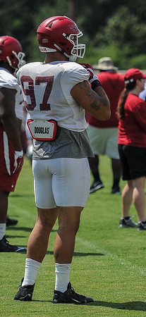 Defensive end Tevin Beanum (97) at Razorback Football practice on Saturday, August 8, 2015 at the Fred W. Smith Football Center in Fayetteville, Arkansas.   (Alan Jamison, Nate Allen Sports Service).