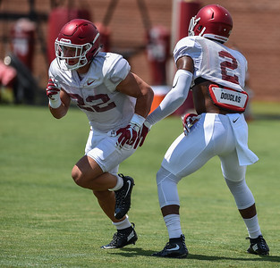 Defensive back Reid Miller (22) with defensive back D.J. Dean (2) at Razorback Football practice on Saturday, August 8, 2015 at the Fred W. Smith Football Center in Fayetteville, Arkansas.   (Alan Jamison, Nate Allen Sports Service).