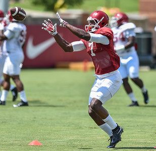 Wide receiver Damon Mitchell (7) at Razorback Football practice on Saturday, August 8, 2015 at the Fred W. Smith Football Center in Fayetteville, Arkansas.   (Alan Jamison, Nate Allen Sports Service).