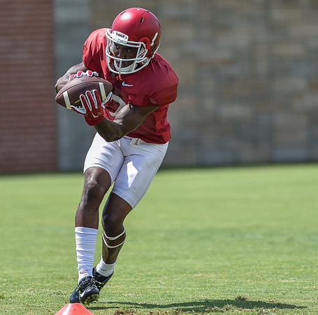 Wide receiver JoJo Robinson (17) at Razorback Football practice on Saturday, August 8, 2015 at the Fred W. Smith Football Center in Fayetteville, Arkansas.   (Alan Jamison, Nate Allen Sports Service).