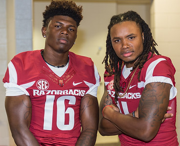 Cornelius Floyd (16) and Will Gragg (11) at the Razorback Media Day on Sunday, August 9, 2015 at the Fred W. Smith Football Center in Fayetteville, Arkansas.   (Alan Jamison, Nate Allen Sports Service).