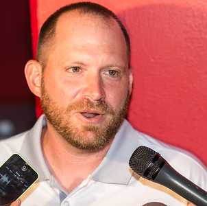 Defensive Coordinator Robb Smith  meets with media at the Razorback Media Day on Sunday, August 9, 2015 at the Fred W. Smith Football Center in Fayetteville, Arkansas.   (Alan Jamison, Nate Allen Sports Service).