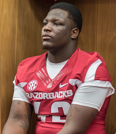 Kendrick Jackson at the Razorback Media Day on Sunday, August 9, 2015 at the Fred W. Smith Football Center in Fayetteville, Arkansas.   (Alan Jamison, Nate Allen Sports Service).