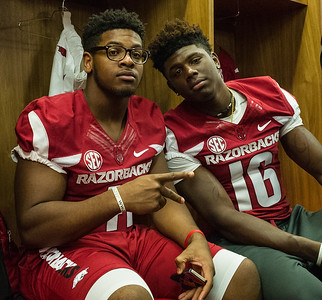 Josh Harris (41) and La'Michael Pettway (16) at the Razorback Media Day on Sunday, August 9, 2015 at the Fred W. Smith Football Center in Fayetteville, Arkansas.   (Alan Jamison, Nate Allen Sports Service).