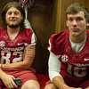 Luke Rossi (82) and Troy Allison (16) at the Razorback Media Day on Sunday, August 9, 2015 at the Fred W. Smith Football Center in Fayetteville, Arkansas.   (Alan Jamison, Nate Allen Sports Service).