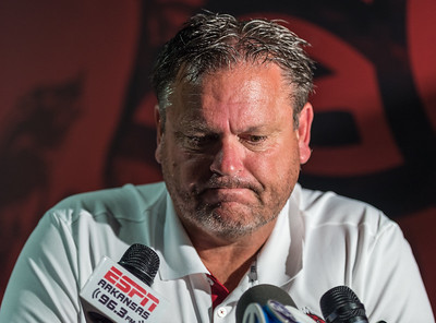 Coach Sam Pittman meets with media at the Razorback Media Day on Sunday, August 9, 2015 at the Fred W. Smith Football Center in Fayetteville, Arkansas.   (Alan Jamison, Nate Allen Sports Service).
