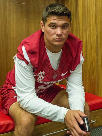 Blake Johnson at the Razorback Media Day on Sunday, August 9, 2015 at the Fred W. Smith Football Center in Fayetteville, Arkansas.   (Alan Jamison, Nate Allen Sports Service).