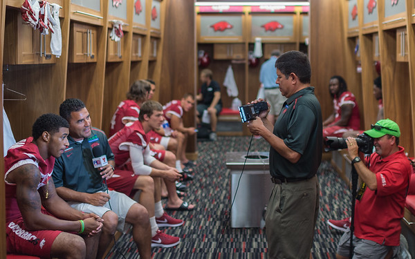 Locker Room during the Razorback Media Day on Sunday, August 9, 2015 at the Fred W. Smith Football Center in Fayetteville, Arkansas.   (Alan Jamison, Nate Allen Sports Service).