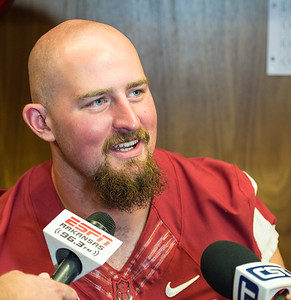 Dan Skipper at the Razorback Media Day on Sunday, August 9, 2015 at the Fred W. Smith Football Center in Fayetteville, Arkansas.   (Alan Jamison, Nate Allen Sports Service).