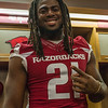 Josh Williams at the Razorback Media Day on Sunday, August 9, 2015 at the Fred W. Smith Football Center in Fayetteville, Arkansas.   (Alan Jamison, Nate Allen Sports Service).