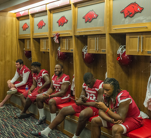 Locker room at the Razorback Media Day on Sunday, August 9, 2015 at the Fred W. Smith Football Center in Fayetteville, Arkansas.   (Alan Jamison, Nate Allen Sports Service).