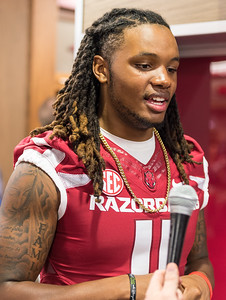 Will Gragg at the Razorback Media Day on Sunday, August 9, 2015 at the Fred W. Smith Football Center in Fayetteville, Arkansas.   (Alan Jamison, Nate Allen Sports Service).