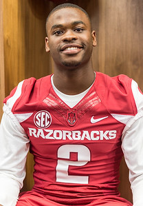 DJ Dean at the Razorback Media Day on Sunday, August 9, 2015 at the Fred W. Smith Football Center in Fayetteville, Arkansas.   (Alan Jamison, Nate Allen Sports Service).