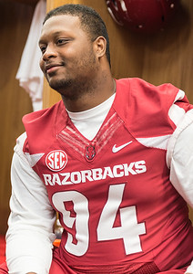 Taiwan Johnson at the Razorback Media Day on Sunday, August 9, 2015 at the Fred W. Smith Football Center in Fayetteville, Arkansas.   (Alan Jamison, Nate Allen Sports Service).