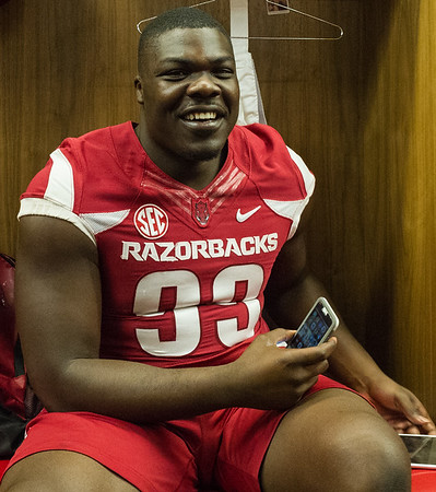 Brandon Lewis at the Razorback Media Day on Sunday, August 9, 2015 at the Fred W. Smith Football Center in Fayetteville, Arkansas.   (Alan Jamison, Nate Allen Sports Service).