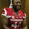 Chris Jones at the Razorback Media Day on Sunday, August 9, 2015 at the Fred W. Smith Football Center in Fayetteville, Arkansas.   (Alan Jamison, Nate Allen Sports Service).