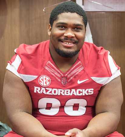 DeMarcus Hodge at the Razorback Media Day on Sunday, August 9, 2015 at the Fred W. Smith Football Center in Fayetteville, Arkansas.   (Alan Jamison, Nate Allen Sports Service).