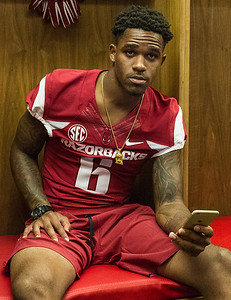 Kendrick Edwards at the Razorback Media Day on Sunday, August 9, 2015 at the Fred W. Smith Football Center in Fayetteville, Arkansas.   (Alan Jamison, Nate Allen Sports Service).