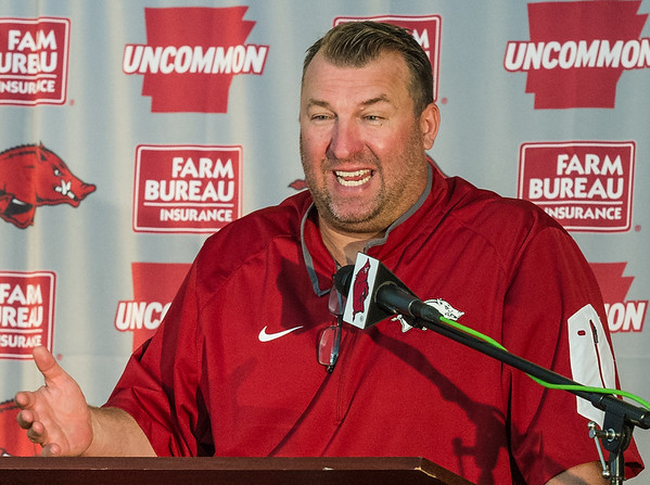 Coach Bielema at the Razorback Media Day on Sunday, August 9, 2015 at the Fred W. Smith Football Center in Fayetteville, Arkansas.   (Alan Jamison, Nate Allen Sports Service).