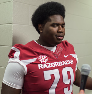 Jalen Merrick at the Razorback Media Day on Sunday, August 9, 2015 at the Fred W. Smith Football Center in Fayetteville, Arkansas.   (Alan Jamison, Nate Allen Sports Service).
