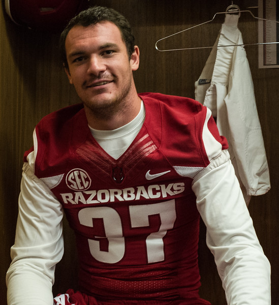 Toby Baker at the Razorback Media Day on Sunday, August 9, 2015 at the Fred W. Smith Football Center in Fayetteville, Arkansas.   (Alan Jamison, Nate Allen Sports Service).