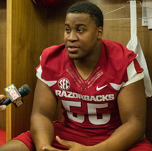 Jeremiah Ledbetter at the Razorback Media Day on Sunday, August 9, 2015 at the Fred W. Smith Football Center in Fayetteville, Arkansas.   (Alan Jamison, Nate Allen Sports Service).