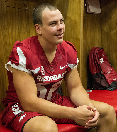 George Madden at the Razorback Media Day on Sunday, August 9, 2015 at the Fred W. Smith Football Center in Fayetteville, Arkansas.   (Alan Jamison, Nate Allen Sports Service).