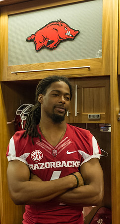 Wide receiver Keon Hatcher (4) during Razorback Media Day on Sunday, August 9, 2015 at the Fred W. Smith Football Center in Fayetteville, Arkansas.   (Alan Jamison, Nate Allen Sports Service).