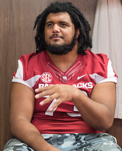 Sebastian Tretola at the Razorback Media Day on Sunday, August 9, 2015 at the Fred W. Smith Football Center in Fayetteville, Arkansas.   (Alan Jamison, Nate Allen Sports Service).