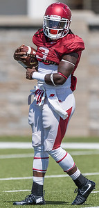 Alex Collins at the Razorback Football practice on Tuesday, August 11, 2015 at the Fred W. Smith Football Center in Fayetteville, Arkansas.   (Alan Jamison, Nate Allen Sports Service).