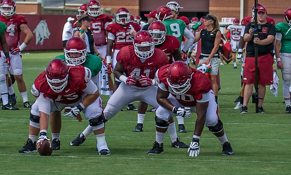 Chris Jones (41) goes in motion during Razorback Football practice on Tuesday, August 11, 2015 at the Fred W. Smith Football Center in Fayetteville, Arkansas.   (Alan Jamison, Nate Allen Sports Service).