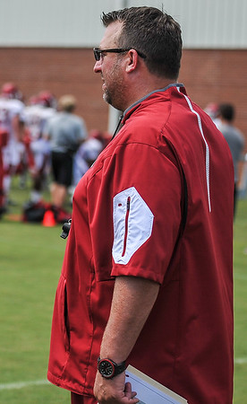 Head Coach  Bret Bielema at the Razorback Football practice on Thursday, August 13, 2015 at the Fred W. Smith Football Center in Fayetteville, Arkansas.   (Alan Jamison, Nate Allen Sports Service).