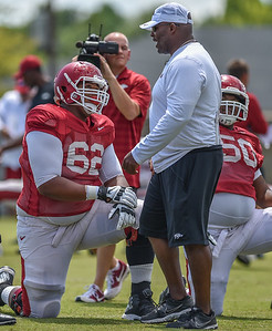 Johnny Gibson at the Razorback Football practice on Thursday, August 13, 2015 at the Fred W. Smith Football Center in Fayetteville, Arkansas.   (Alan Jamison, Nate Allen Sports Service).