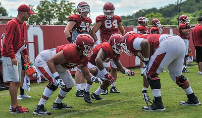 Colton Jackson (74) in a drill during the Razorback Football practice on Thursday, August 13, 2015 at the Fred W. Smith Football Center in Fayetteville, Arkansas.   (Alan Jamison, Nate Allen Sports Service).