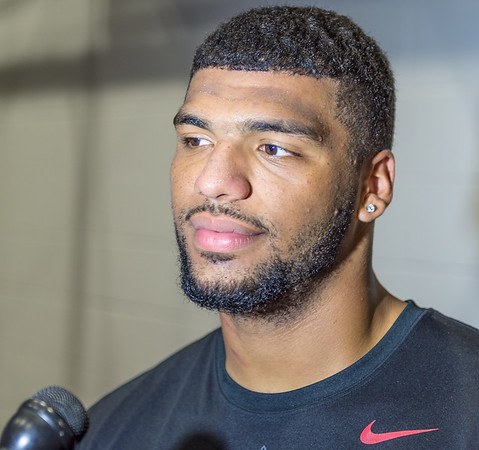 Tevin Beanum meets with  media after Razorback Football practice on Friday, August 14, 2015 at the Fred W. Smith Football Center in Fayetteville, Arkansas.   (Alan Jamison, Nate Allen Sports Service).