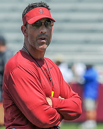Offensive  Coordinator Dan Enos at the Razorback Football practice on Saturday, August 15, 2015 at Reynolds Razorback Stadium in Fayetteville, Arkansas.   (Alan Jamison, Nate Allen Sports Service).