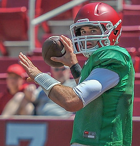Ty Storey at the Razorback Football practice on Saturday, August 15, 2015 at Reynolds Razorback Stadium in Fayetteville, Arkansas.   (Alan Jamison, Nate Allen Sports Service).