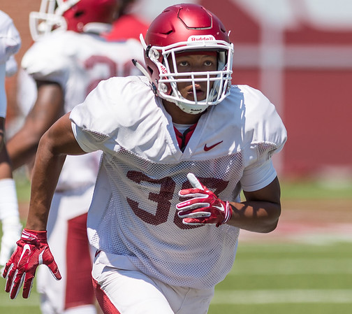 Byron Keaton at the Razorback Football practice on Saturday, August 15, 2015 at Reynolds Razorback Stadium in Fayetteville, Arkansas.   (Alan Jamison, Nate Allen Sports Service).