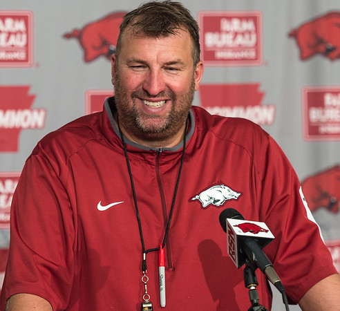 Head Coach Bret Bielema addresses the media after practice on Saturday, August 15, 2015 at Reynolds Razorback Stadium in Fayetteville, Arkansas.   (Alan Jamison, Nate Allen Sports Service).