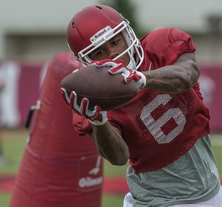 Kendrick Edwards at the Razorback football practice on Tuesday, August 18, 2015 at the Fred W. Smith Football Center in Fayetteville, Arkansas.   (Alan Jamison, Nate Allen Sports Service).