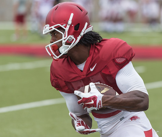 Damon Mitchell at the Razorback football practice on Tuesday, August 18, 2015 at the Fred W. Smith Football Center in Fayetteville, Arkansas.   (Alan Jamison, Nate Allen Sports Service).